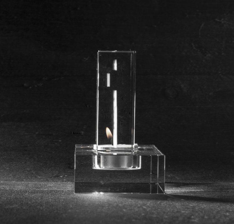 Foto in glas 2 D Waxinehouder Flat