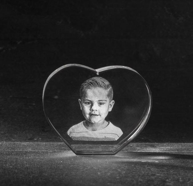 Foto in glas - 3D Kristal Hart met 1 portret