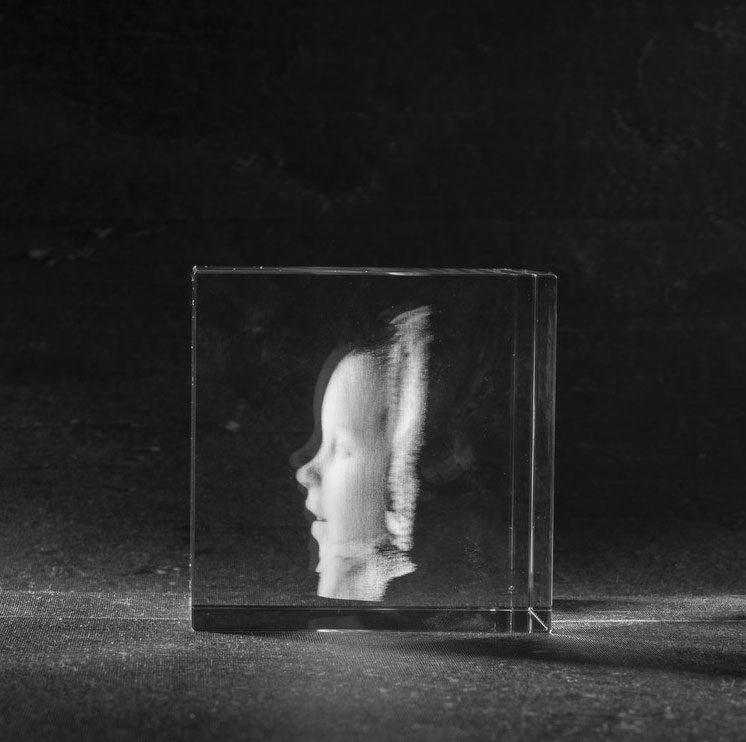 3D Foto in Glas - Kristal Kubus met 1 portret