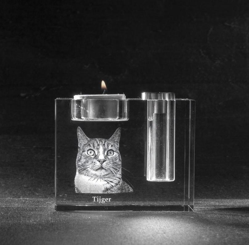 Foto in glas 3 D Urn Waxinehouder Bloem